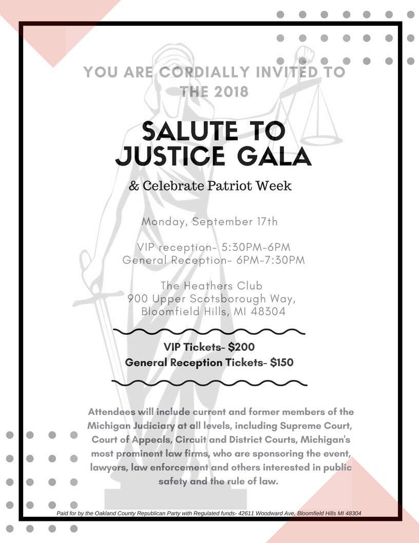 Oakland County Republican Party: 2018 Salute to Justice Sept. Canceled